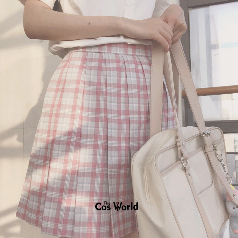 [Sakura] Girl's Summer High Waist Pleated Skirts Plaid Skirts Women Dress For JK School Uniform Students Cloths