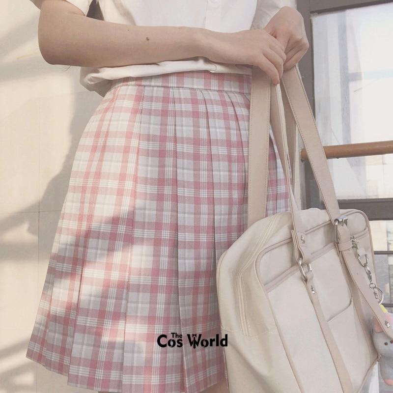 [Sakura] Girl's Summer High Waist Pleated Skirts Plaid Skirts Women Dress For JK School Uniform Students Cloths