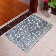 Bath Mat Bathroom Carpet Rug Dropship 40*60cm Pebble Polyester Foam kitchen Door Floor 1Pc