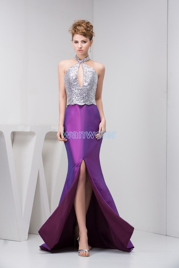 2018 New Arrival Hot Sale Sexy Floor-Length Open Leg Small Train Custom Long Halter Beading Prom Mother Of The Bride Dresses