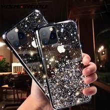 Funda con gradiente de lentejuelas y purpurina para iPhone, funda de TPU suave y transparente brillante para iPhone 12 11 Pro SE 2020 XS MAX XR X 8 7 6 s Plus