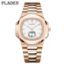 2020 PLADEN Fashion Mens Business Chronograph Watches Luxury Strong Waterproof Stainless Steel Strap Analog Quartz Raymond Watch