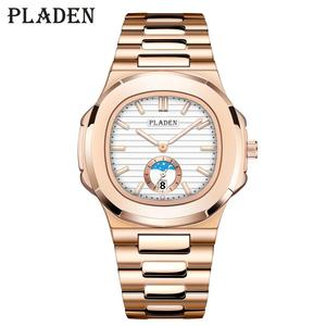 Image 1 - 2020 PLADEN moda masculino negócios cronógrafo relógios de luxo forte à prova dwaterproof água aço inoxidável cinta analógico relógio quartzo raymond