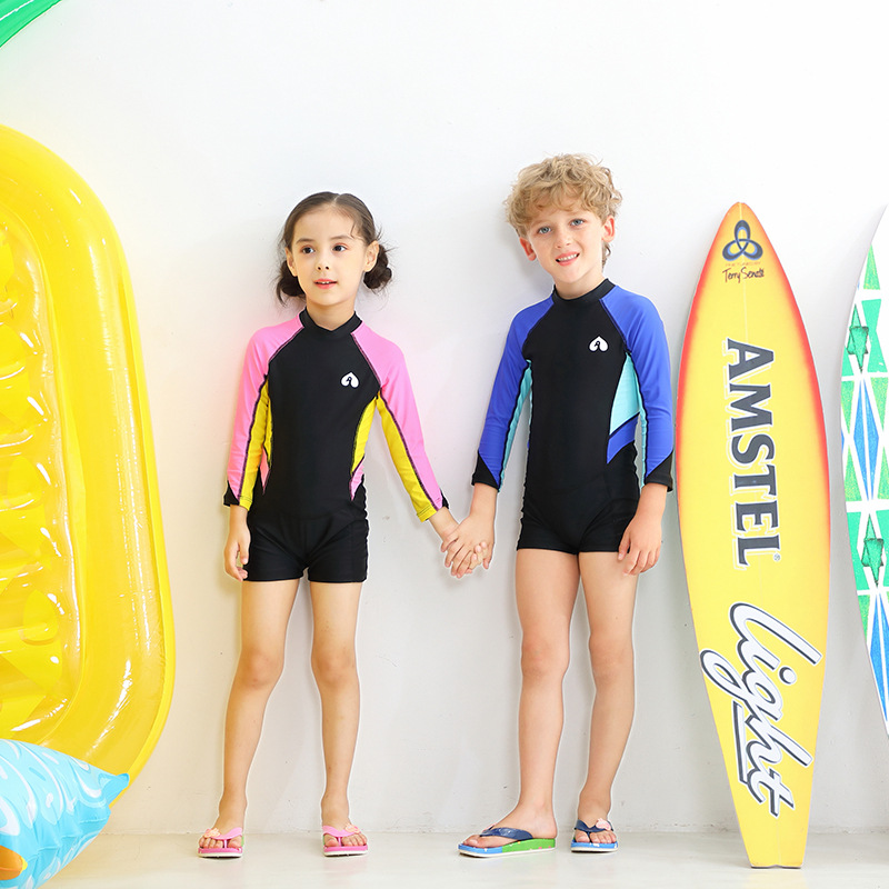 New Style One-piece Swimsuit For Children Men And Women Children Cute One-piece Swimwear Big Boy Long Sleeve One-piece Swimming