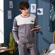 Пижамы 2020 Весна с длинным рукавом мужской комплект осень трикотажные хлопок свободного покроя мужской пижамы мальчики досуг костюмы л - размер 3XL