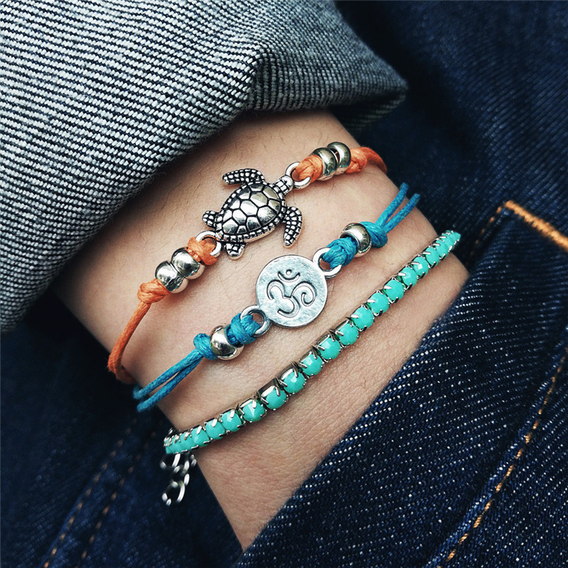 3pcs/set OM Sea Turtle Anklets for Women Crystal Bead Handmade Cotton Anklet Bracelets Female Beach Foot Jewelry Dropship