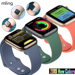 Colorful Soft Silicone Sports Band for Apple Watch Series 1 2 3 4 5 38MM 42MM Rubber Watchband Strap for iWatch 4/5 40MM 44MM(China)