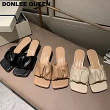 Marca de moda praça cabeça peep toe baixo salto chinelos mulher deslizamento em sandália ao ar livre slides verão mule elegante plissado sapatos mujer