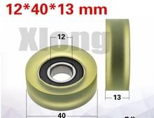 цена на 2PCS 12*40*13mm Rubberized Bearing Wheel Guide Wheel Silent Gate Pressure Roller 6001 Bearing PU Polyurethane Rubber Wheel Soft
