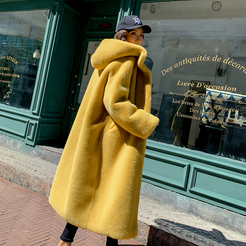 2019 Autumn Winter Long Mink Women Faux Fur Jacket Korean Plus Size Fur Hooded Coat Loose Thick Warm Ladies Overcoat Streetwear