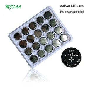 20 шт. Новое поступление MJKAA LIR2450 аккумуляторные батарейки для зарядки 1000 раз литиевые монеты батарея заменена CR2450