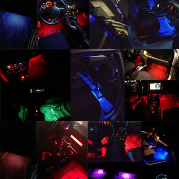 Car styling Foot Light Interior Wireless Remote/Music/Voice Control Decoration Light Cigarette LED Atmosphere RGB LampStrip 3