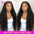 Парик из 150% человеческих волос на сетке с глубокой волной, перуанские волнистые парики с глубокой волной на сетке 4x4 для черных женщин, парик...
