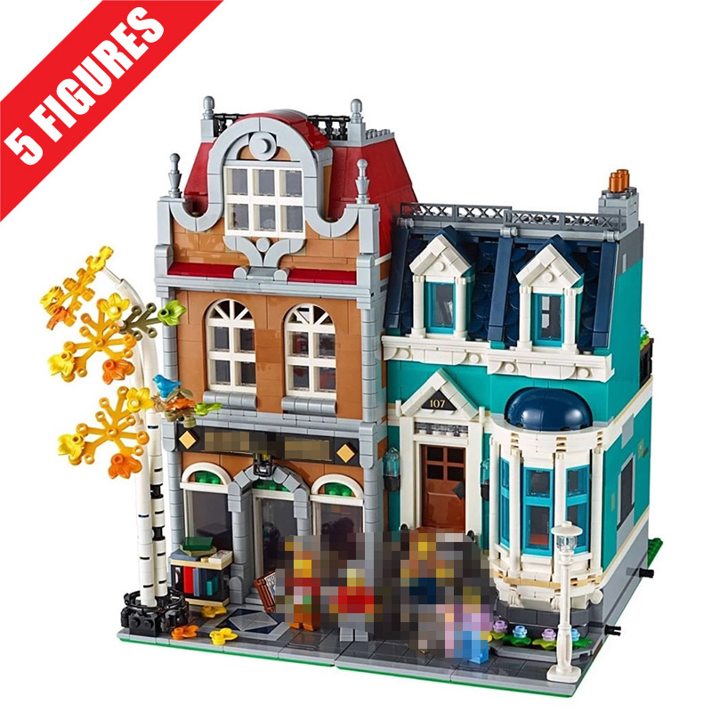 Blocks Bricks Model Building-Kits Education-Toys Creator Street-View 10270 Bookshop European-Style title=