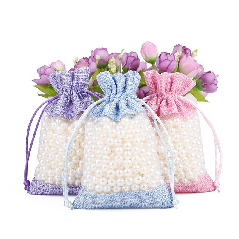 50pcs/lot 10x14cm 3.9x5.5 Inch Burlap Linen And Organza Pouch Bag Drawstring Storage Bag For Wedding Christmas Packaging Bag