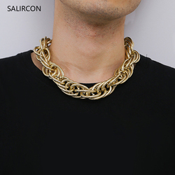 Salircon Exaggerated Big Chain Chunky Choker Necklace Statement Thick Collares Gold Color Twist Necklace For Women Men Jewelry