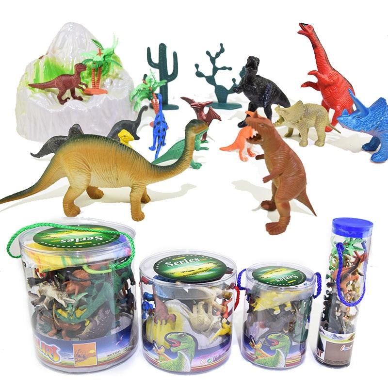 32 Pcs Dinosaurs Figures Dragon Tyrannosaurus Rex Action Velociraptor Stegosaurus Rex I-Rex Assemble Animals Model Kids Toys