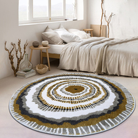 Modern style 3D pattern growth ring round shaped coffee table floor mat. INS popular decoration area rug, villa rug