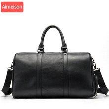 Aimeison Men's handbag Travel Bag Waterproof Leather Large C