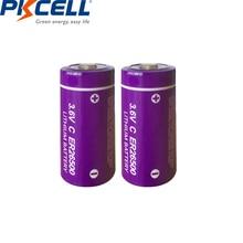 2 adet/PKCELL ER 26500 3.6V C boyutu lityum pil er26500 9000Mah Li SOCl2 pil PLC controly pil