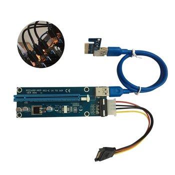 10PCS/20pcs PCI-E PCI Express 1X to 16X Riser Card USB 3.0 Cable SATA to 4Pin IDE Power Cord Molex Power for BTC Miner Machine vodool pci e extender pci express riser card 1x to 16x 60cm usb 3 0 cable sata to 4pin molex power for bitcoin mining miner