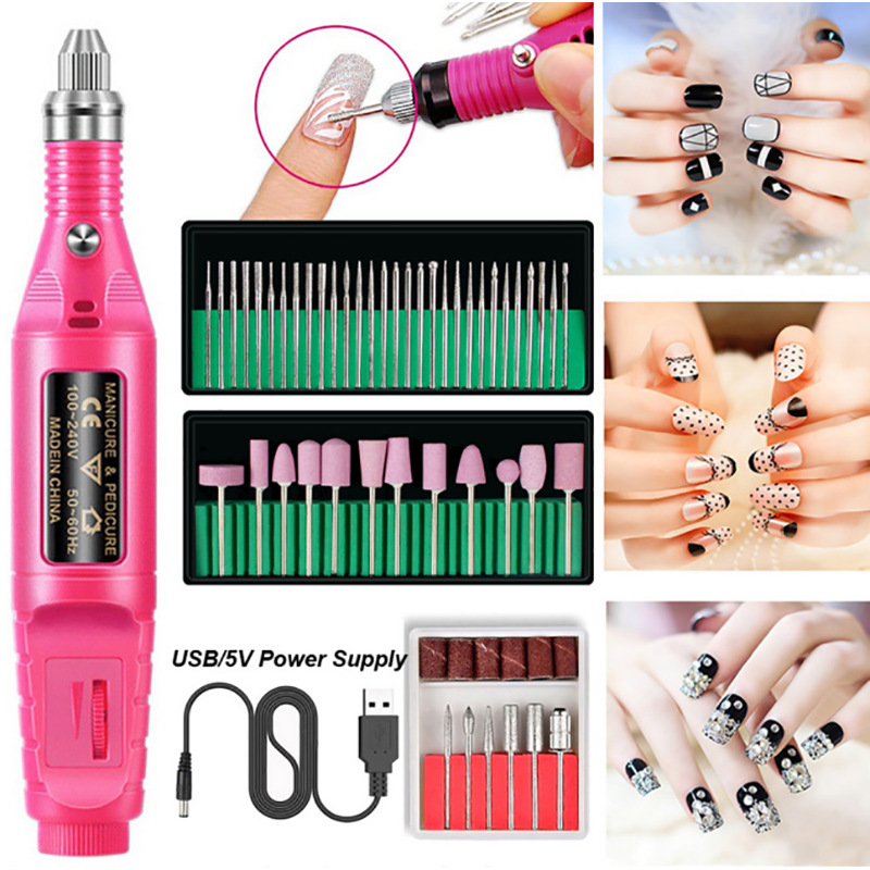 54Pcs USB Charging Electric Manicure Pedicure Set Nail Drill Bits Kit Remove Polish Nail Art Pen Pedicure Nail File Polish Tools