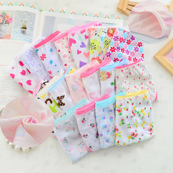 12Pc/Lot  Baby Girls Underwear Cotton Panties Kids Short Briefs Children Underpants 2-12Y
