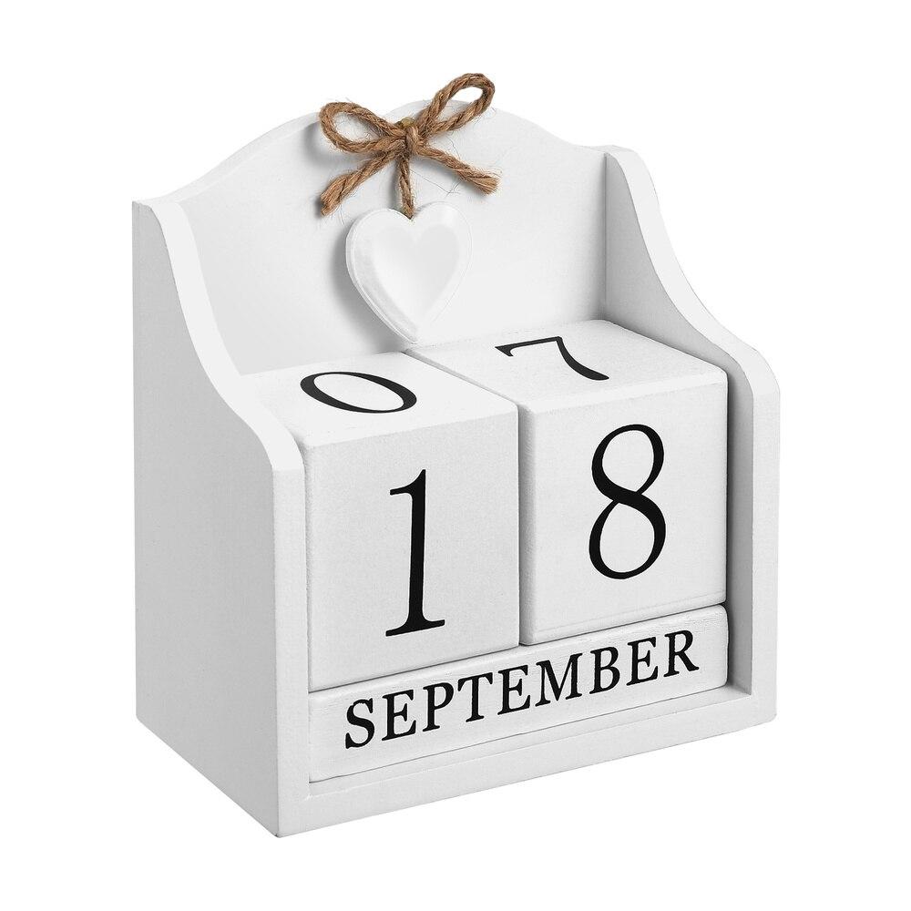 BESPORTBLE Chic Perpetual Calendar Month Date Wood Blocks Desk Calendar Home and Office Desktop Ornament