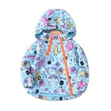 Fashion Warm Fleece Baby Girls Jackets Waterproof Child Coat Cartoon Print Children Outerwear Kids Outfits For Autumn 100-140cm