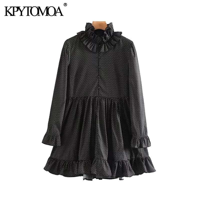 Vintage Sweet Polka Dot Pleated Mini Dress Women 2020 Fashion Ruffled Collar Long Sleeve Female Dresses Chic Vestidos Mujer
