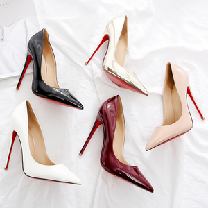 2020 Women Red Pumps Shoes Nude/Black Pointed Toe Sexy High Heel Shoes Stiletto High Heels Ladies 12 10 8 cm Big Size 44