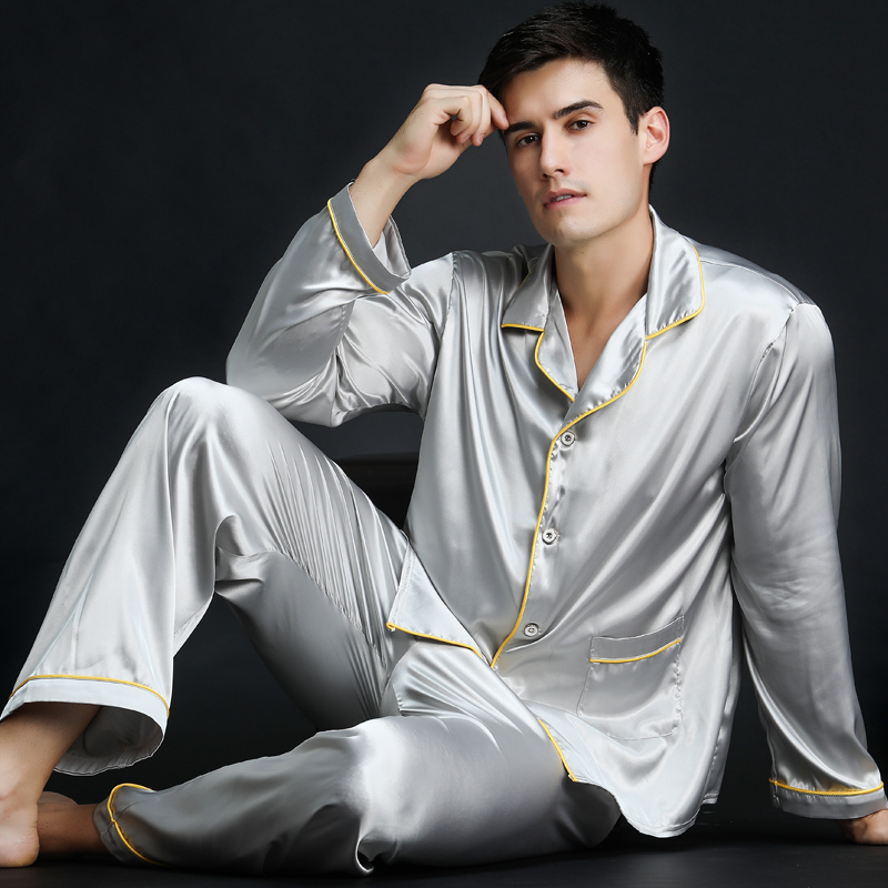 Special Offers Spring Autumn Men Satin Silk Pyjamas Sets Long-Sleeve Male Pijama Sleepwear Leisure Home Clothing Free Delivery