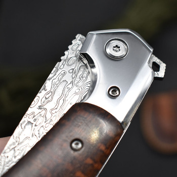 NEW Damascus VG10 steel folding knife High quality knife High hardness outdoor camp Into the Wild hunting knife rescue tool EDC 5
