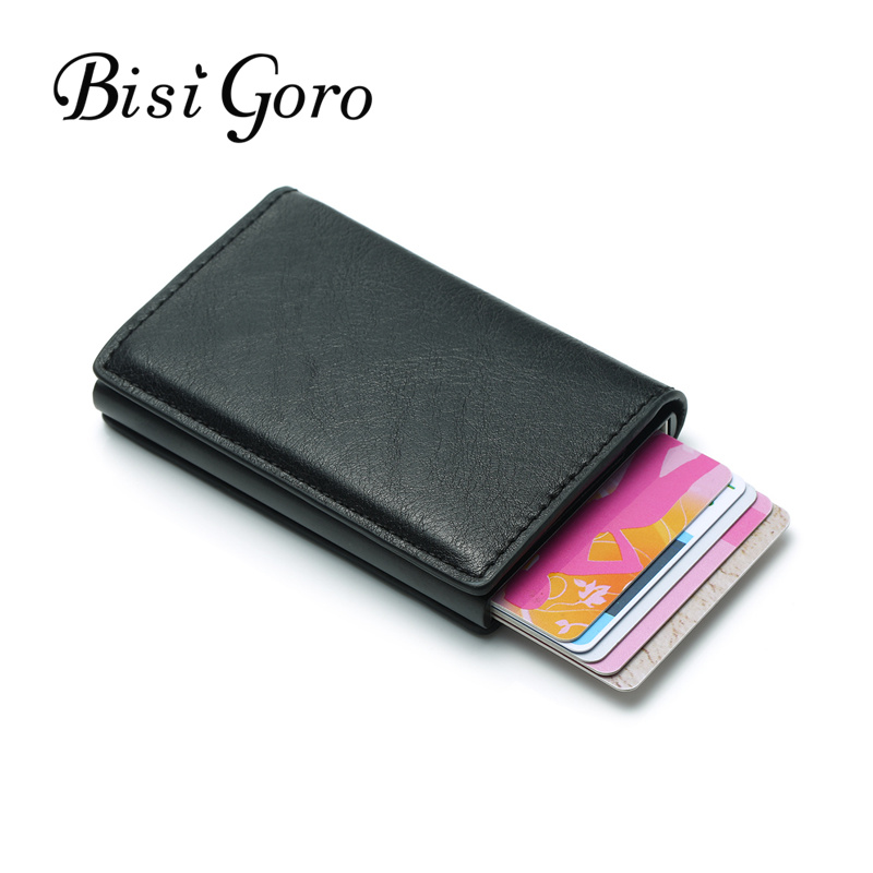 BISI GORO Rfid Card Holder New Men Wallets Money Bag Male Vintage Black Short Purse Slim Wallet 2019 Leather Pop Up Wallet