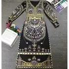 XiaomoliNvzhuang Con Scollo A V retro stampa classico lungo split Manicotto Della Lanterna del Vestito slim fit 2019 di inverno delle nuove donne di usura
