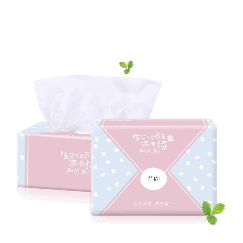 4 Packs Tissue Paper Face Oil Absorbing Paper Plant Fibres Clean Breathable Household Log Pumping Paper Towels Soft Baby Napkin