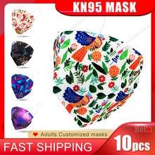 10 pièces KN95 masque Facial bouche masques 4 couches filtre respirant respirateur protecteur visage Mascarillas mode imprimé masque ffp2