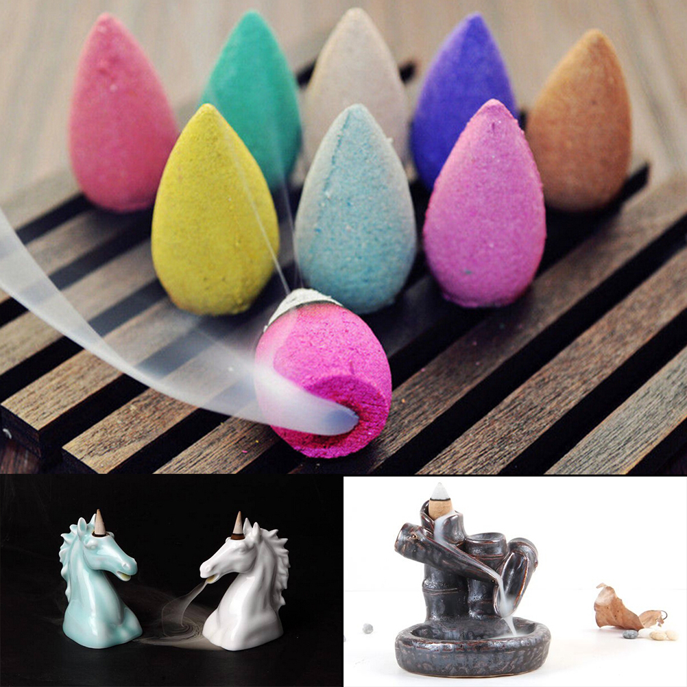 70Pcs Tranditional Aromatherapy Cone Natural Smoke Tower Cones Bullet Backflow Incense Hollow Cone Jasmine