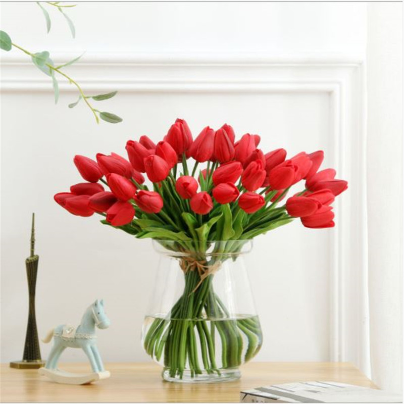 1PC PU Mini Tulips Artificial Flowers For Home And Wedding Decoration Flowers 57