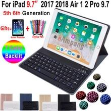 Podświetlana klawiatura etui do ipada 9.7 2017 2018 5th 6th generacji etui do ipada Air 1 2 Pro 9.7 pokrywa klawiatura Bluetooth Funda