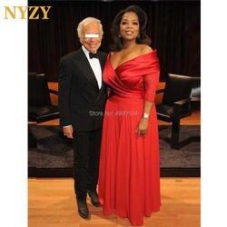 Платья для матери невесты с рукавами NYZY M242 шифоновый с открытыми плечами красный ковер Звездные Вечерние платья Длинные