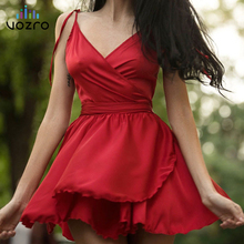 VOZRO Sexy Chest Chalaza Summer Party Dress Women Suit-dress Crossing V Lead Waist Petal Type Pleated Skirt Vestido dresses lace