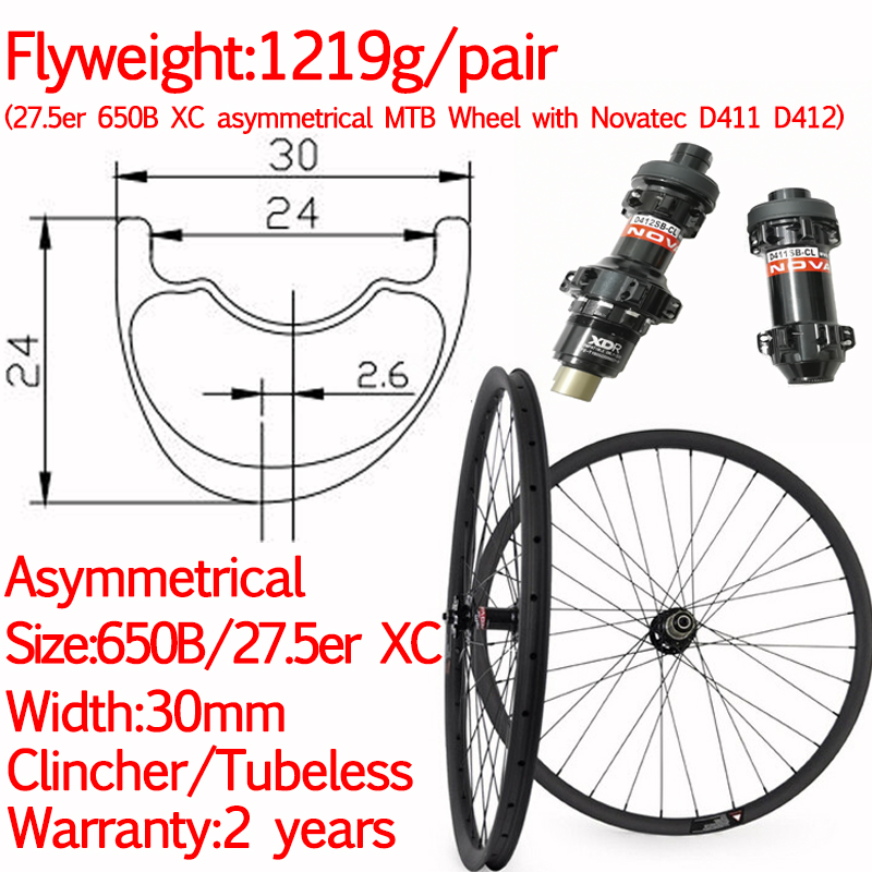Super ligh XC width 30mm 27.5er 650B carbon MTB asymmetric <font><b>bike</b></font> <font><b>wheels</b></font> XD XX1 <font><b>6</b></font> bolt straight pull 12*100 12*142 110 *15 12*148 image