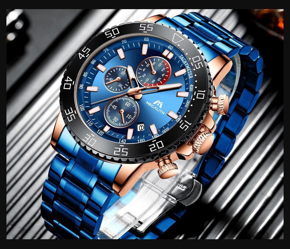 H680b280ab5154981b7f1dbe901383afcb MEGALITH Watches Mens Waterproof Analogue Clock Fashion Stainless Steel Waterproof Luminous Watch Men Sports Relogio Masculino