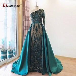 Image 5 - Элегантное вечернее платье, модель 2020 года, юбка годе со съемным шлейфом, блестящее платье на одно плечо для выпусквечерние вечера