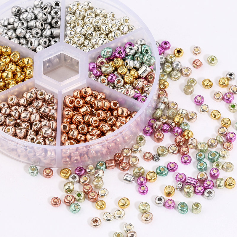 Bottled 3/4mm Round Glass Seed Beads Charm plated color Czech beads round Spacer bead DIY Bracelet Necklace Jewelry Accessories Beads    - AliExpress