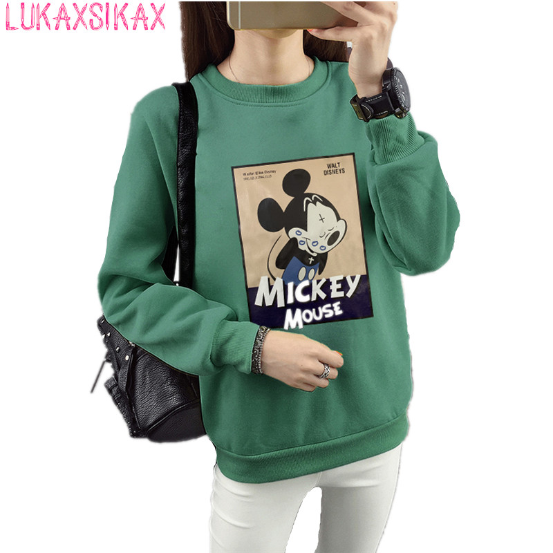 2019 New Autumn Winter Women Thicken Sweatshirt Coat Kawaii Mickey Graphic Print Pullover Sweatshirt Plus Size M-5XL 28 Colors