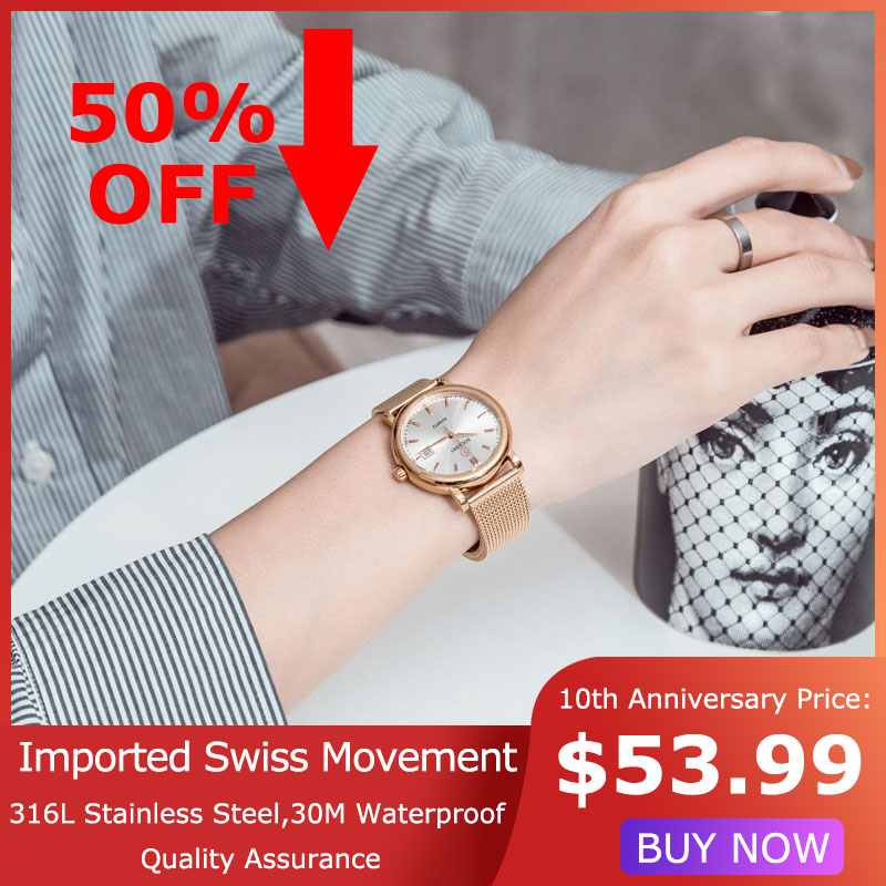 Women Watch Top Brand Luxury Gold Swiss Quartz Movement Stainless Steel Fashion Ladies Watches Female Clocks Reloj Mujer 36mm