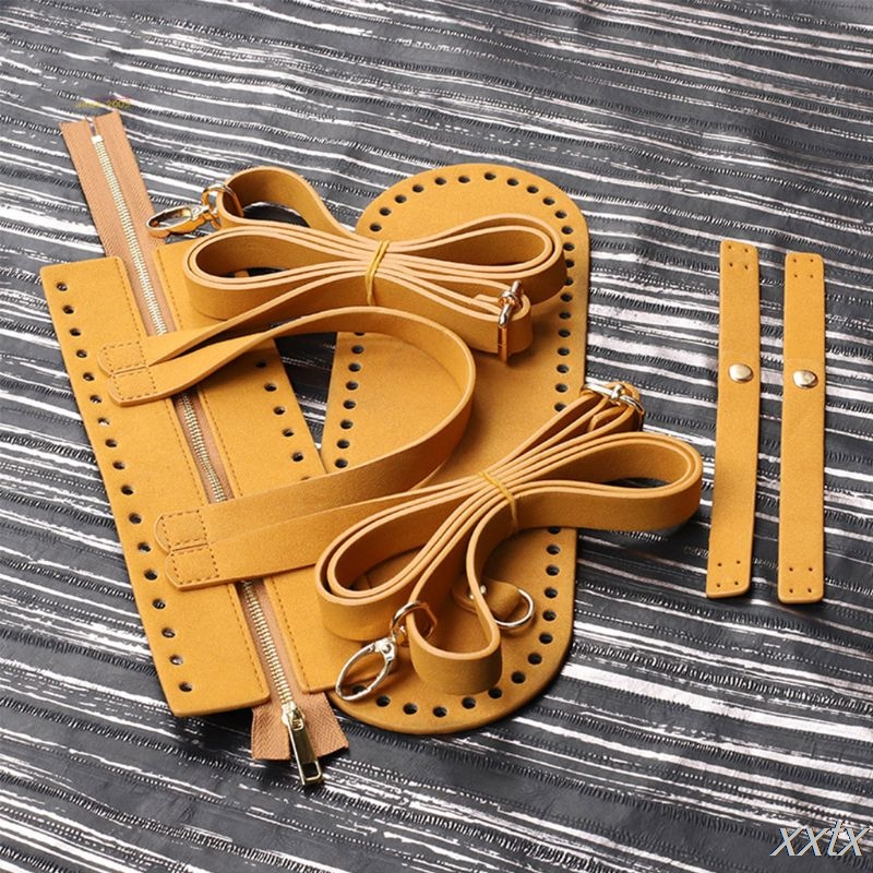 4Pcs/Set DIY Crochet Handbag Accessories Faux Leather Zipper Bag Shoulder Strap A69C