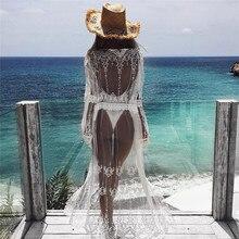 Robe de plage blanche en mousseline de soie, Sexy, pour femmes, Kimono, robe de plage, portefeuille, Cardigan, ajouré, vêtements de plage